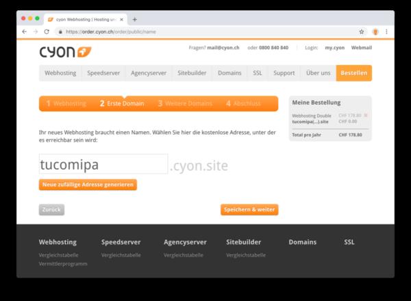 Individuelle cyon.site-Adresse für neue Webhostings.