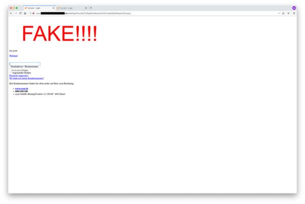 Achtung Fake, Warnung auf der Phishing-Seite