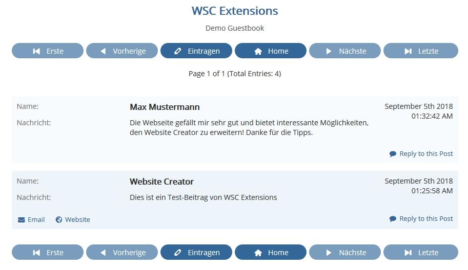 Website Creator mit Gästebuch
